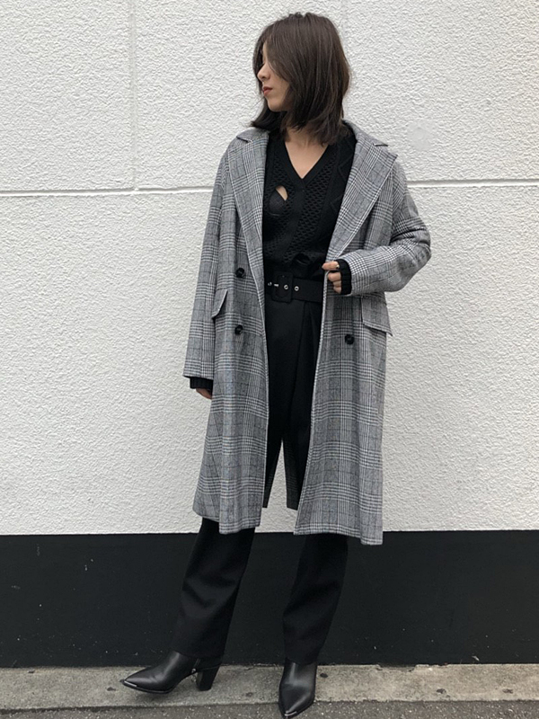 SOLOV:HOUNDSTOOTH CHESTER COAT
