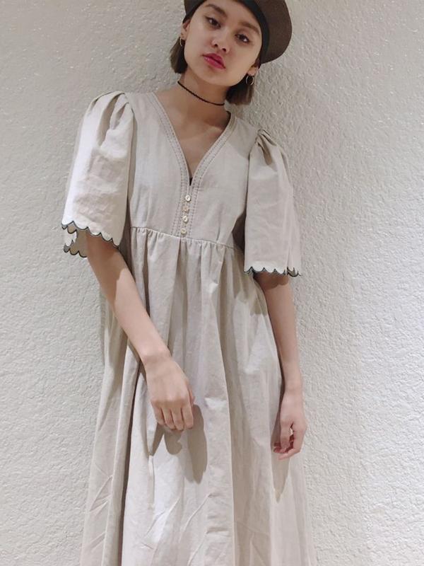 SOLOV:EMBRODERY LINEN DRESS